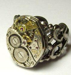 Bold Antique Silver 21 Jewel Bulova Watch Movement by LondonsGate, $45.00
