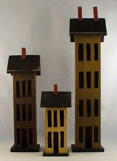 SET 3 Primitive Antique Vintage Style Large Wooden Salt Box Houses