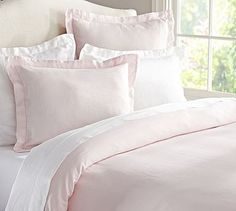 Pottery Barn Linen Duvet Cover & Sham.  It comes in different colors, but this one is my favorite. reg. price $59 – $299  sale $34.99 – $179.99  Made from the fibers of the flax plant, linen is lustrous, smooth and cool to the touch. Our bedding is enzyme washed for added softness.