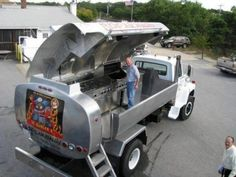 Fuel truck converted into mobile BBQ grill.    Ya, I will never make it, but it is fun to dream.