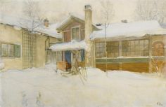 Carl Larsson (1853-1919) My Country Cottage In Winter, Sundborn 1904 (64,5 by 99 cm)