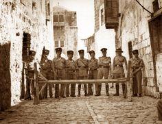 "British put barriers btwn Moslem and Jewish Quarters during 1936 riots, to protect the Jews from attacks. Photo taken by Zvi Oron מחסום שבנו הבריטים במאורעות תרצ""ט בין הרובע המוסלמי ליהודי, כדי לעצור התקפות על יהודים. צילום של צבי אורון"