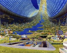 In the 1970s, NASA held a series of summer schools to explore practical designs for future space colonies. Artists illustrated the concepts and this artwork is by Don Davis. Image: NASA AMES Research Centre.