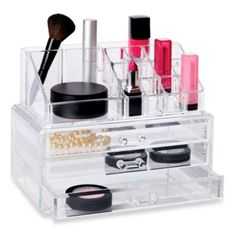Richards Homewares Clear 19 Compartment Cosmetic Organizer with Drawers - BedBathandBeyond.com $19.99
