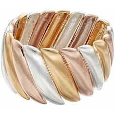 Jennifer Lopez Tri Tone Wavy Stretch Bracelet (91 PLN) ❤ liked on Polyvore featuring jewelry, bracelets, multicolor, polish jewelry, colorful bangles, jennifer lopez, metal bangles and multi color jewelry