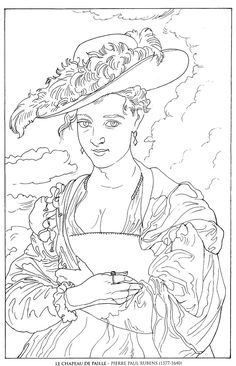 le chapeau de paille_pierre paul rubens famous paintings coloring pages