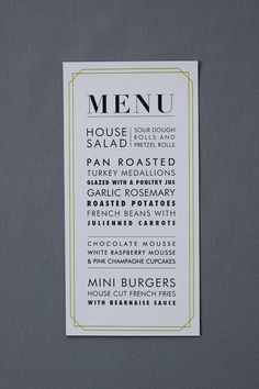menu design ideas #Weddings #Events #Rehearsal Dinners @MickeyMantlesSteakhouse                                                                                                                                                     More