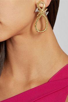 DAVID WEBB Nails 18-karat gold, platinum and diamond clip earrings