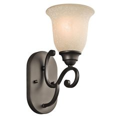 Kichler Lighting 45421OZ Camerena 1-Light Wall Sconce, Olde Bronze Finish with White Scavo/Light Umber Glass by Kichler Lighting. $38.70. Kichler Lighting 45421OZ Camerena 1LT Wall Sconce employs graceful lines and a rich Olde Bronze finish with the warm glow from an exquisite White Scavo with Light Umber inside tint glass for a classic piece to add traditional charm to your decor. Place on either side of a vanity mirror for an updated statement, or in an entr...