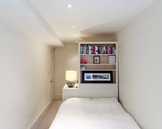 , Awesome Contemporary Bedroom With White Storage Ideas For Small Bedrooms Also White Quilt And White Wall Paint Color Also Modern Small Ceiling Lights Also Classic Table Lamp: Some Cool Ideas of Storage Solutions for Small Spaces
