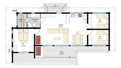 Villa Esox 100 -vapaa-ajan asunnon pohjapiirros