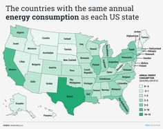 The countries with the same annual energy consumption as each US state