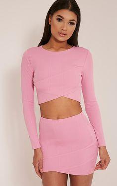 Alena Bubblegum Pink Cross Front Bandage Crop Top