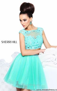 Sherri Hill 21154 A-line Beaded Pleated Two Piece Aqua Prom Dress Sherri Hill Prom Dresses Short, Green Homecoming Dresses, Two Piece Homecoming Dress, Prom Dresses 2015, Designer Prom Dresses, Pageant Dresses, Prom 2014, Party Dresses, Prom Dreses