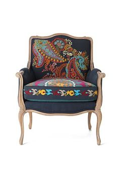 Like the modern spin on traditional piece.  Like the possible navy blue? background color.  Cool for a girl bedroom.