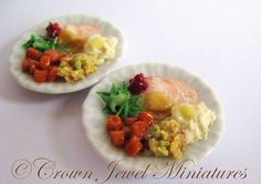 2 Thanksgiving turkey dinners - available now in my eBay- http://www.ebay.com/usr/Crown_Jewel_Miniatures