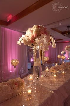 Romantic tablescape with roses & orchids. reception wedding flowers,  wedding decor, wedding flower centerpiece, wedding flower arrangement, add pic source on comment and we will update it. www.myfloweraffair.com can create this beautiful wedding flower look.