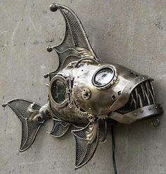 Passionate welding metal art projects dig this Metal Art Projects, Welding Projects, Metal Crafts, Chat Steampunk, Arte Steampunk, Steampunk Clothing, Steampunk Gadgets, Metal Sculpture Artists, Steel Sculpture