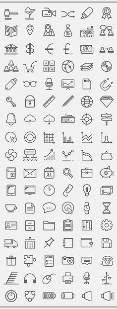 Business stroke icon set on Behance