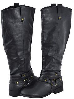 BLACK PARKSVILLE-23 Women Strappy Riding Knee High Boot Size 10