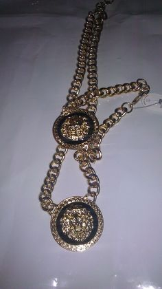 Versace Like Link necklaces with Lion head pendant, Black Red, inner outline  outter gold/