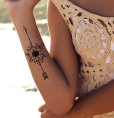 Temporary tattoo bohemian arrow sunflower boho tattoos realistic thin thin durable waterproof – foot tattoos for women flowers Boho Tattoos, Wrist Tattoos, Body Art Tattoos, Small Tattoos, Bohemian Tattoo Ideas, Tatoos, Sexy Tattoos, Shoulder Tattoos, Tattoos Pics