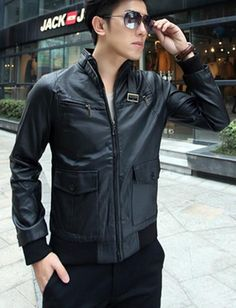 Black Biker Men Jacket with Buckle Throat and Cargo Pockets