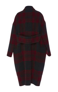 This checked **Rochas** coat is rendered in mohair wool and features a narrow notched lapel with front patch pockets and an oversized fit.