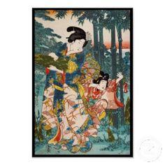 Classic vintage ukiyo-e geisha and child Utagawa poster print $10