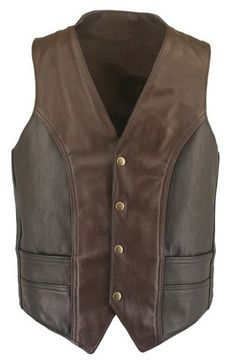 handmade Men Brown and black Leather two color Leather Vest , men Brown and black leather Vest, Men leather Vest. $119.99, via Etsy.