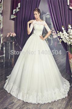 Bolero Applique Luxury sheer Vestidos Pearls Lace pleats Bridal Gowns Rhinestone Scoop crystals 2015 New Wedding Dresses Beaded