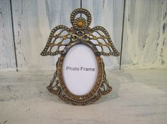 Vintage pewter angel small photo frame, pewter metal picture frame, angel shape petwer frame adorned with small beads family picture frame by HTArtcraftAndVintage