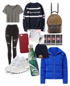 """Chill day out"" by gracemhumberstone ❤ liked on Polyvore featuring Topshop, NIKE, WithChic, Louis Vuitton, ellesse, Apple and Recover"