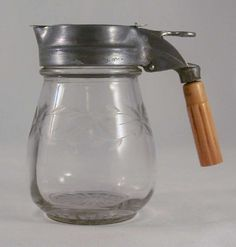 Antique Clear Etched Glass Table Top  Syrup Metal Top and Bakelite Handle Patent 1,884,840
