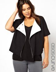 ASOS CURVE Exclusive Crop Jacket With Contrast