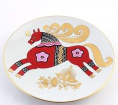 RUSSIAN  Imperial Lomonosov porcelain Decorative Plate Red Horse 22K Gold Russia #ImperialLomonosov  61
