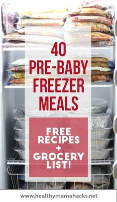 Plan for an easier postpartum recovery by getting some pre-made meals into the freezer now! Here are great tips and recipes to get you started. (affiliate)  #planningforbaby, #pregnancy, #pregnancyplanning, #postpartumplanning, #postpartumrecovery