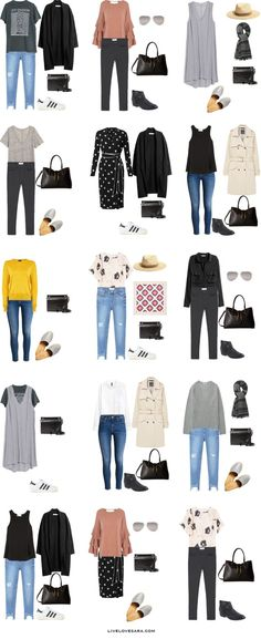 What to Wear in the UK and France Outfit Options 1-15 Packing Light List #packinglist #packinglight #travellight #travel #livelovesara