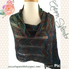 Luxurious and soft ladies hand knit shawl in exquisite autumn colors, made in beautiful wool silk blend yarn.