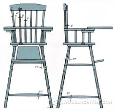 Rocker and High Chair Plans - Children's Furniture Plans and Projects   WoodArchivist.com