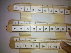 Skip Counting Sticks - popsicle sticks... blog is no longer there, but I can figure out this idea.