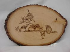 Wood burning - 4 baby sparrows