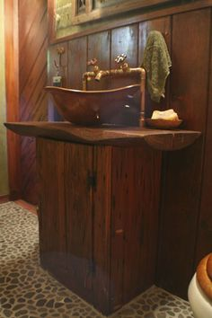 Another view of the copper sink and vanity