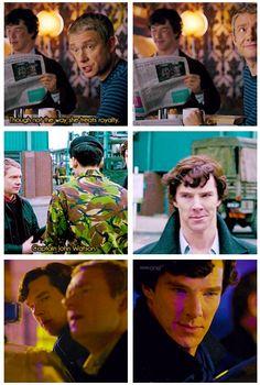 John is AWESOME! | Sherlock's subtle reaction to John being awesome. (gif) | @ssherlock.tumblr.com