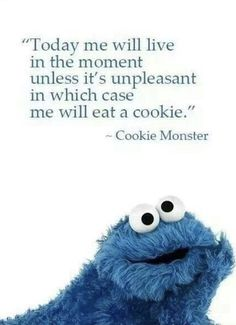 Cookie Monster Wisdom will bring a smile to your face! Laughter and humour open a space for awesomeness (and cookies! Great Quotes, Me Quotes, Funny Quotes, Inspirational Quotes, Motivational Quotes, Wacky Quotes, Mentor Quotes, Random Quotes, People Quotes
