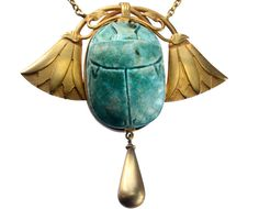 1900s French Art Nouveau Egyptian Revival Faience Scarab Necklace, 18K Gold : Erie Basin Antiques