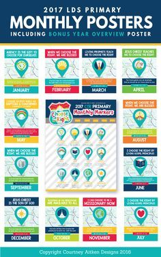 """""""Choose the Right"""" Monthly Primary Posters for 2017! Perfect way to brighten up your primary room! https://www.etsy.com/listing/460776340/2017-lds-primary-monthly-theme-posters?ref=shop_home_active_1"""