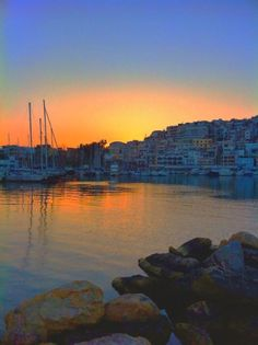 Mikrolimano at sunset, Piraeus, Athens Greece Attica Athens, Athens Greece, Greece Travel, Italy Travel, Travel Maps, Places To Travel, Going On A Trip, Places Of Interest, Archaeological Site