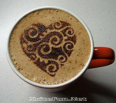 Cute Coffee Heart Art of the Pour Coffee Heart, I Love Coffee, Best Coffee, Coffee Break, My Coffee, Morning Coffee, Cappuccino Art, Coffee Latte Art, Coffee Cafe