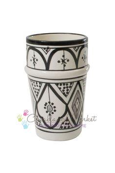 Classic Design Beldi Tumbler Cup, Black and White (C00057) - Casablanca Market